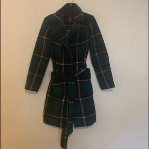Green Plaid Trench Coat